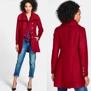 Guess Red Boucle Cutaway Front Wool Pea Coat New